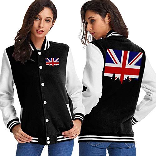 Six23S Frauen Baseball Jacke Mantel City of London Skyline and British Flag Women's Long Sleeve Baseball Jacket Baseball Cotton Jacket