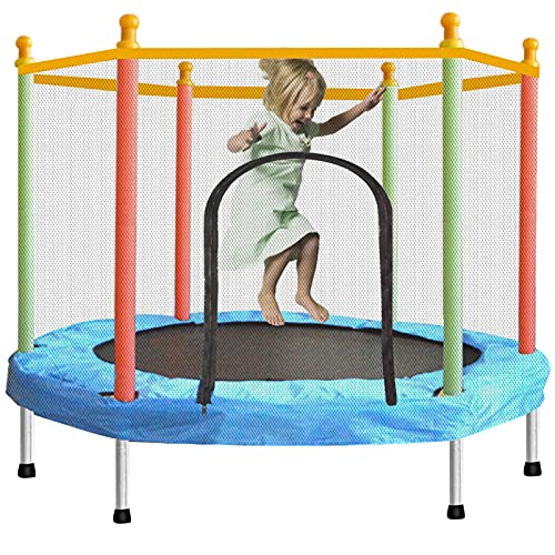 Toddler Trampoline with Enclosure Safety Net, SZBOB Indoor Outdoor Small Trampoline for Kids, 55 in/4.6 ft Baby Trampoline Round Jumping Table Mat Capacity 110lbs Kid Trampoline with Built-in Zipper