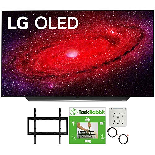 LG OLED55CXPUA 55 inch CX 4K Smart OLED TV with AI ThinQ 2020 Bundle with TaskRabbit Installation Services + Deco Gear Wall Mount + HDMI Cables + Surge Adapter