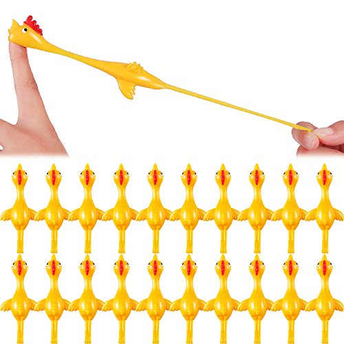 Sumind 30 Pack Slingshot Chicken Flick Chicken Flying Chicken Flingers Stretchy Funny Rubber Chickens Party Activity Christmas for Children (Yellow)