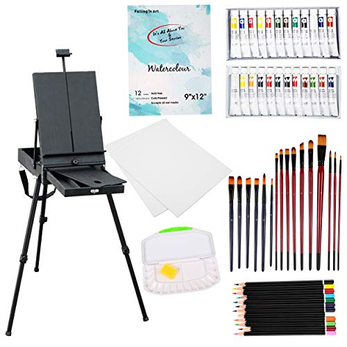 Falling in Art Black Lightweight French Easel Paint Set, 12 Acrylic Colors, 12 Watercolors, Painting Canvas Panels, Nylon Brushes, Airtight Palette and More
