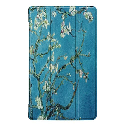 Shockproof hard and comfortable protective case Apricot Flower Pattern Colored Painted Horizontal Flip PU Leather Case for Huawei Honor Tab 5 8.0, with Three-folding Holder,Simple, comfortable, easy t
