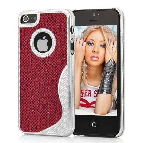 Cover Housse de protection des bornes pour Apple iPhone 5 femmes élégants chics femelle de cas de fille plata argent rouge de téléphone portable de cas de téléphone portable