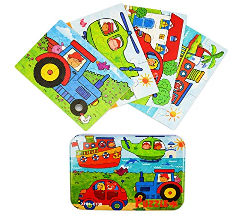 Wooden Car Preschool Puzzles for Toddlers 3-5 Years Old, Best for Travel with a Little Iron Tin (Drivers)