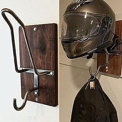 Motorcycle Helmet Rack & Jacket Hook, Motorcycle Accessories Helmet Holder Helmet Hanger, Wall Mounted Equestrian Helmet Rack Display Rack – Great Gift Idea from FBYT