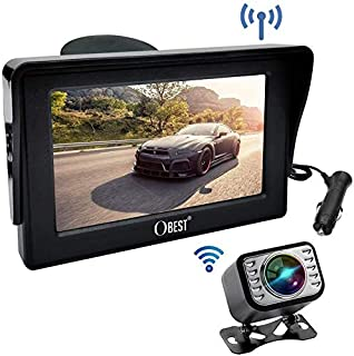 B-Qtech Backup Camera and Monitor Kit-4.3 Front/Rear View Reverse Camera Waterproof Adjustable Easy Installation for Cars,Trucks,Pickups,Bus,Van