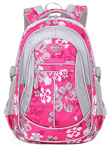 JiaYou Girl Flower Printed Primary Junior High University School Bag Bookbag Backpack(Style A Rose,24 Liters)