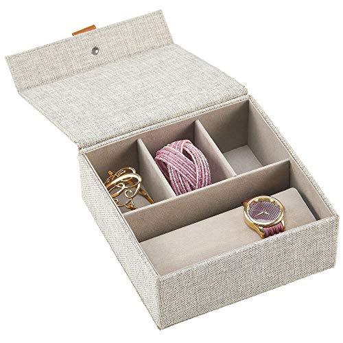 mDesign boite à montre avec couvercle – coffret montre élégant tissu avec 3 compartiments pour bijoux et 1 porte-montre – également idéal comme boite de rangement pour objets de valeur – gris clair