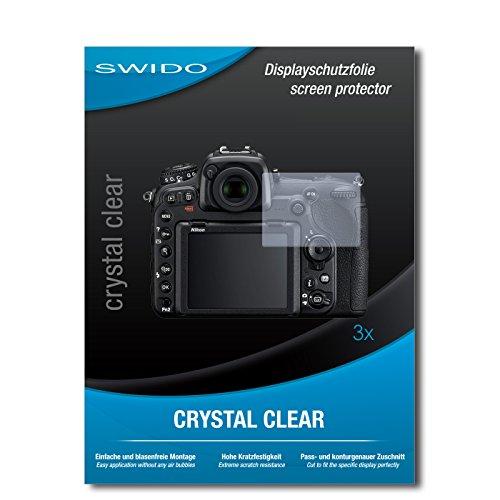 SWIDO Displayschutzfolie für Nikon D500 [3 Stück] Kristall-Klar, Extrem Kratzfest, Schutz vor Öl, Staub und Kratzer/Glasfolie, Displayschutz, Schutzfolie, Panzerfolie