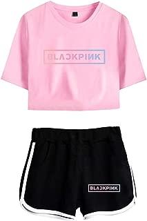 cinnamou Damen Trainingsanzug Set Crop Top T-Shirts und Shorts Kleidung Anzug f/ür M/ädchen und Frauen 2Pcs Fitness Sportswear Yoga Sport Laufe Jogginganzug Outfits