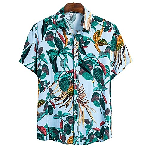 Camiseta Hombre Moderna Urbana Tendencia Moda Estampado Holgado Hombre Casuales Camisa Verano Botón Placket Manga Corta Diario Casual Vacaciones All-Match Hombre Shirt CS127 3XL
