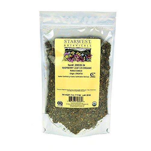 Starwest Botanicals Organic Red Raspberry Leaf Tea [4 Ounce Bag] Loose Cut & Sifted Raspberry Leaves in Bulk