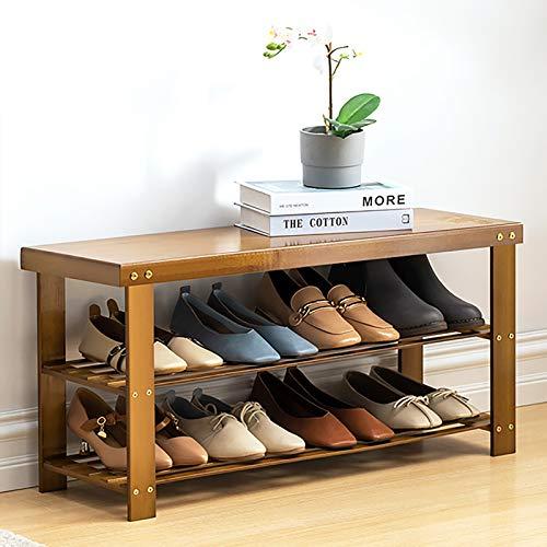Banco De Rack De Zapatos De 2 Niveles,Bambú Banco De Zapatos,Estante De Zapatos De Pie Libre,Banco De Almacenamiento De Entrada Ideal Para El Salón Del Baño Del Pasillo-Marrón 80x26x41cm(31x10x16inch)
