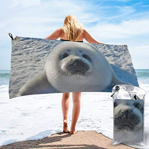 Toalla de Playa 27.5 'X 55',Cute Baby Seal Ultra Suave Arena Microfibra Portátil Absorbente de Agua Multi Microfibra Sin Arena Toalla de Playa Manta
