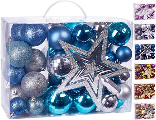 Brubaker Set di 50 Pezzi Palline di Natale con Cima d'albero - Decorazioni per L'Albero di Natale in Argento Blu