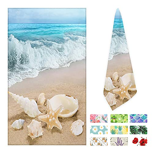 Beach Seashell Starfish Sea Ocean Wave Conch Hand Towels Ultra Soft Highly Absorbent Bath Towel Multipurpose for Gym Kitchen Hotel and Spa Home Decor 16x30 in