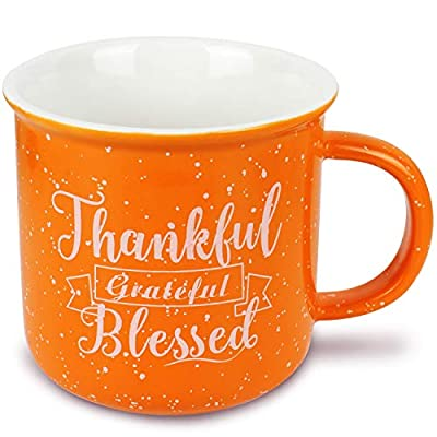 HAMIGAR Thankful Grateful Blessed Coffee Mug Tea Cup - Thanksgiving Fall Gifts for Women Men Friend Kids - 11oz Orange Ceramic