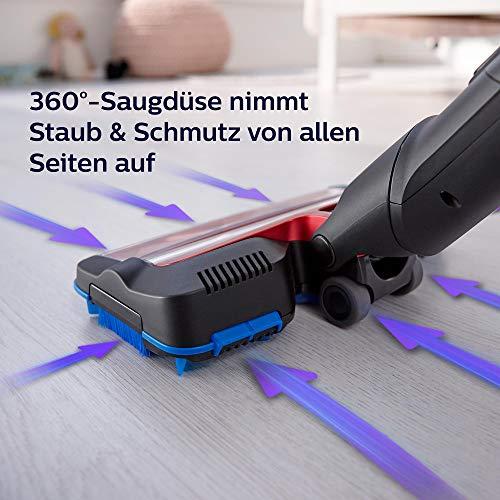 Philips XC7042/01 SpeedPro Max kabelloser Akku Staubsauger 7000 Series, 360°-Saugdüse, 65 Min. Akkulaufzeit, beutellos, inkl. Handstaubsauger, rot - 4