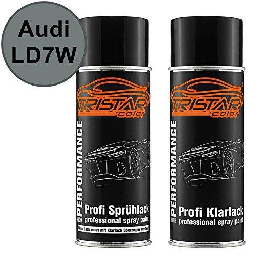 TRISTARcolor Autolack Spraydosen Set für Audi LD7W Urban Grey Metallic/Silverstone Urban Grey Metallic Basislack Klarlack Sprühdose 400ml