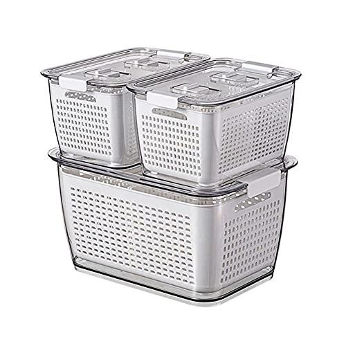 Batchelo Juego de 3 cajas de almacenamiento para frigorífico, drenaje y almacenamiento, multifuncional, para frigorífico, color blanco