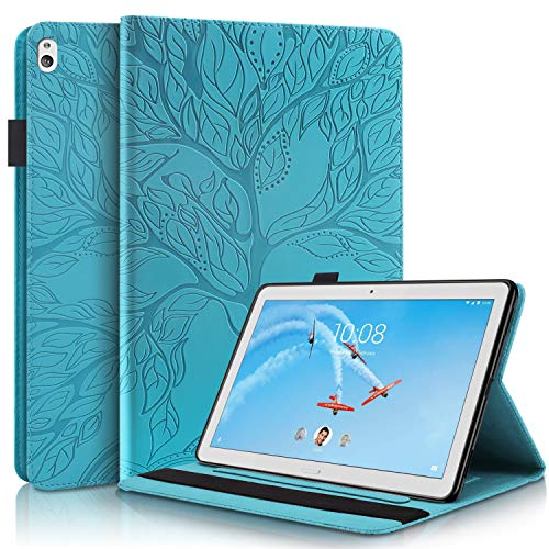 Succtop Hülle für Lenovo Tab M10 10.1 PU Leder Folio Cover mit Standfunktion Brieftasche Stiftband Tablet Schutzhülle Lenovo M10 (TB-X505F TB-X505L TB-X605FTB-X605L)/ P10 10.1 (X705L X705F), Blau