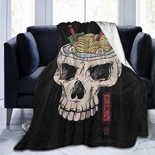 ZOMOY Manta de Franela Suave,Palillos de Fideos Ramen Cerebro cráneo Esqueleto,Cama de Camping para sofá 204x153cm
