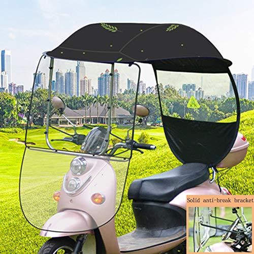 LYAID Motorrad Motorrad Motorroller Dach, Sonnenschutz Regen-Abdeckung Regenschirm wasserdichte Überdachung, mit PVC-Windschutzscheibe,Schwarz,B