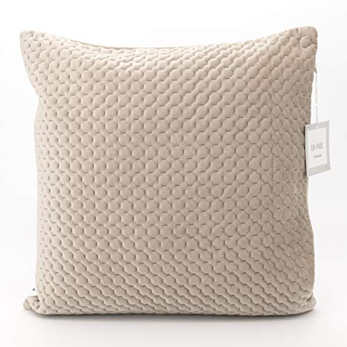 Adam Home Quilted Velvet Cushion Covers (4 Pack, Beige) - Square Pillow Case 43CM x 43CM Quilted Throw Cushion Covers- Elegant Euro Sham Cover- Decorative Sham cover for Car, Sofa, Bedroom