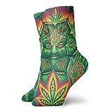 Jhonangel Chicos Chicas Locos Divertidos Zen Calcetines de marihuana psicodélicos de marihuana con hojas de marihuana Lindos calcetines de vestir de novedad