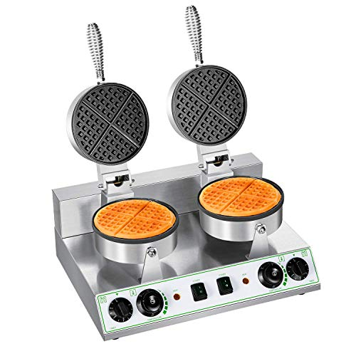 Commercial Belgian Waffle Maker Double Round Thin Waffle Iron Nonstick Electric 110V Muffin Machine Suitable for Snack Bar Restaurant Home Family