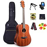 WINZZ 41 Inches Full Size Solid Top Dreadnought Mahogany Acoustic Guitar with Full Kit