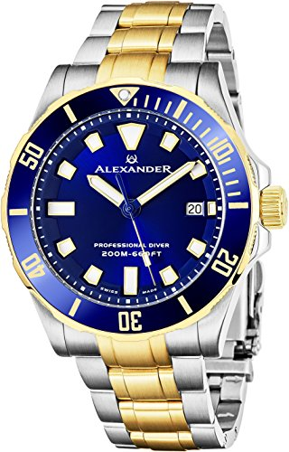 Alexander Professional Diver Watch Mens Blue Face Sapphire Crystal 200M Waterproof - Swiss Made Analog Quartz Dive Watch for Men Scuba Diving Rotating Bezel Stainless Steel Yellow Gold Tone Metal Band