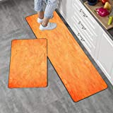Kitchen Rugs Washable,Gesmatic Farmhouse Kitchen Rugs 17'X48' 17'X24' Orange Color Painting Wall Bathroom Non Slip Microfiber Kitchen Rugs and Mats Coffee Kitchen Rugs and Mats Farmhouse 2 Piece