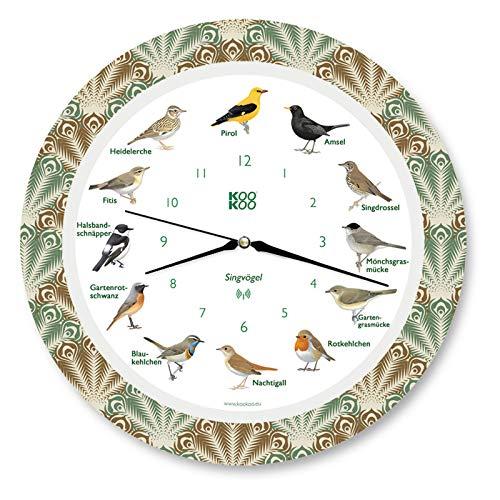 KOOKOO Singvögel Feather Heart, Die Singende Vogeluhr, mit 12 heimischen Singvögeln und echten, natürlichen Vogelstimmen, mit RC Funkquarzwerk