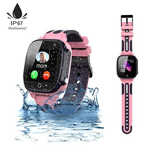 Jaybest Kinder Smartwatch,wasserdichte Smart Watch für Kinder,Smart Watch Phone mit LBS Tracker SOS Voice Chat Kamera Spiel für Jungen und Mädchen, Geburtstagsgeschenk (rosa)