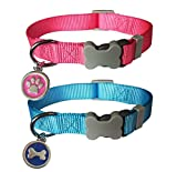 PARTNER Basic Nylon Dog Collar. Classic Solid Color Collars ID Tag Collar Adjustable Suitable for Small and Medium Dogs.2 pcs/Set
