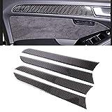 Fibra de Carbono 4 PCS Coche de la Etiqueta del Panel de Fibra de Carbono de la Puerta Interior Decorativo for Audi A4L / A5 / Q5 Accesorios Interiores del automóvil Decoración Rec
