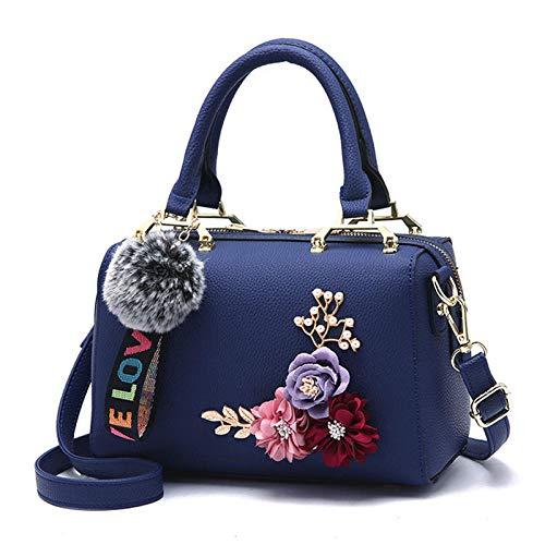 BebiBolso de mensajero de hombro de bolso de almohada de flor tridimensional de moda-322# azul