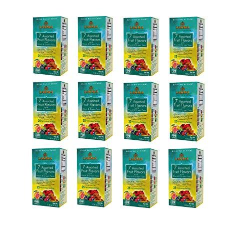 LAKMA 12 Pack Lakma 7 Flavor Assorted Tea - Black & Green - 25 Tea Bags (100% Natural, Sugar Free, Gluten Free & Non-Gmo), 300 count (pack of 1)