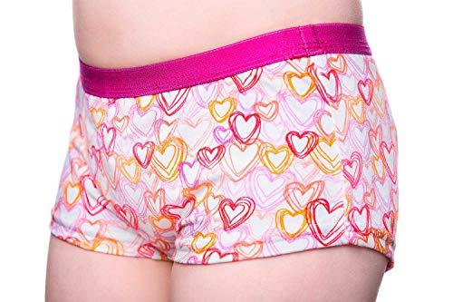 DRY & COOL Tages-Inkontinenzslip für Mädchen Unterwäsche Waschbar Absorbierende Einlage Hearts, Rosa, 110-116 cm (5-6 Jahre)