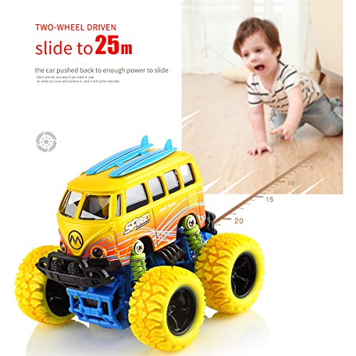 Geyiie 4 Pack Toddler Toys Pull Back Cars Off-Road