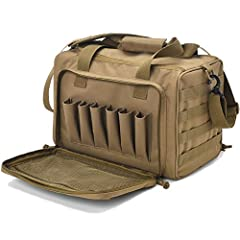"Range duffle bag Exterior Dimensions: 15""x12""x10"" (WxDxH).Interior main compartment Dimensions 14"" x 8"" x 9""(WxDxH). Gun range bag is made of 600D nylon fabric, durable, water-resistant and heavy duty. Lock style zippers for main compartment (zippers..."