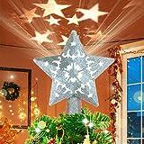 Sulida luz superior del árbol de Navidad, estrella plateada hueca 3D, luz superior del árbol de Navidad con proyección giratoria LED, utilizada para la decoración del árbol de Navidad