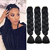 WOME Braiding Hair Jumbo Braiding Hair 3Pcs/Lot High Temperature Synthetic Crochet Braids Hair Extensions(Black 1b#,24',100g/Pcs)