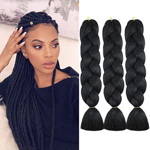 WOME Kanekalon Braiding Hair Jumbo Braiding Hair 3Pcs/Lot High Temperature Synthetic Crochet Braids Hair Extensions(Black 1b#,24',100g/Pcs)