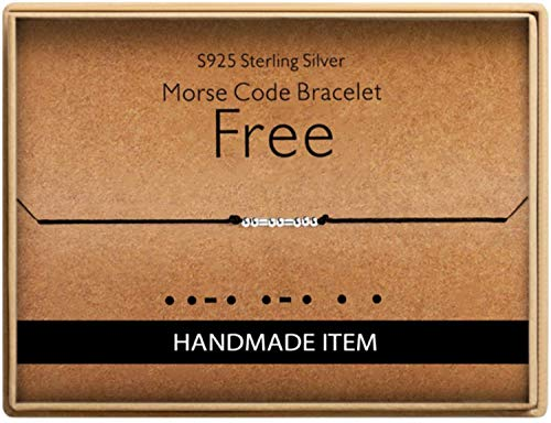 Birthday Gifts for Friends Morse Code Free Bracelet 925 Sterling Silver Handmade Bead Adjustable String Bracelets Inspirational Jewelry for Women