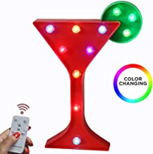 Oycbuzo Light Up Colorful Wine Glass Marquee Sign, Marquee Cocktail Cup Night Lights with Remote Timer Dimmable for Home BAR Pub Drink Sign