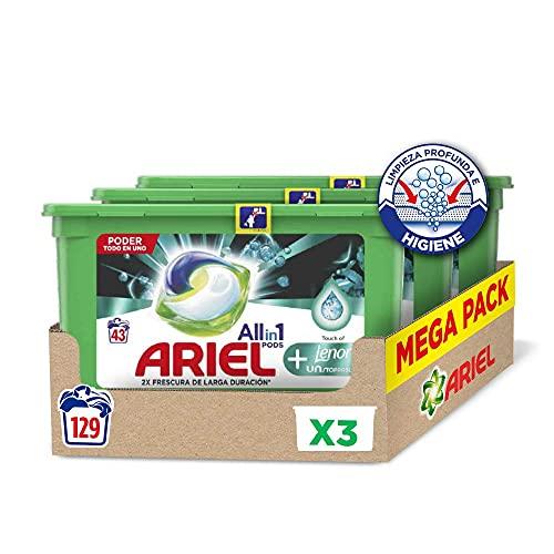 Ariel Pods Allin1 Detergente Lavadora Cápsulas, 129 Lavados (3 x 43) con Lenor UNstoppables