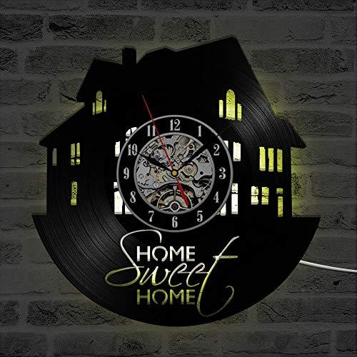 WERWN Reloj de Pared de Vinilo Reloj de diseño Retro Art Deco Clásico Reloj de Pared LED Antiguo