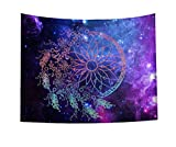 COLORPAPA Galaxy Dream Catcher Tapestry Psychedelic Trippy Abstract American Indian Talisman Dream Catcher Bohemian Style Wall Hanging Art Decor Blanket for Living Room Bedroom Dorm 59x51 Inches